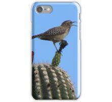 Chirping Cactus Wren on Top of a Cactus iPhone Case/Skin