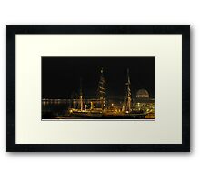RRS Discovery at  night Framed Print