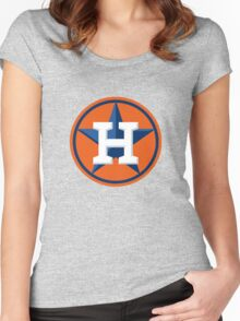 Houston Astros Color Swap Logo Women's Fitted Scoop T-Shirt