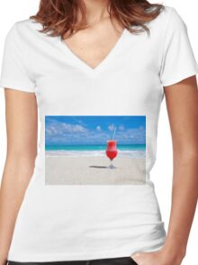 Colorful Cocktail in Paradise Women's Fitted V-Neck T-Shirt