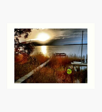Sundown dock and frog, Kitty Hawk sound-side Art Print