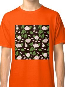 Seamless ethnic pattern with pink roses and green leaf Classic T-Shirt