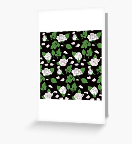 Seamless ethnic pattern with pink roses and green leaf Greeting Card