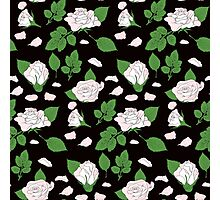 Seamless ethnic pattern with pink roses and green leaf Photographic Print