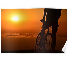 Bicyclist at Sunset Poster