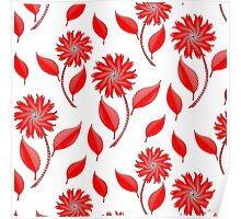 Simple flowers and leaf pattern Poster