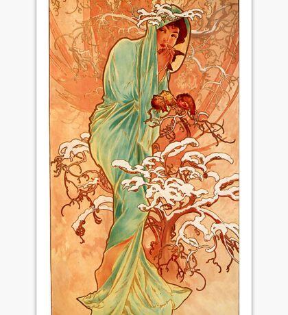 Alfons Mucha Art Nouveau Winter Painting Sticker