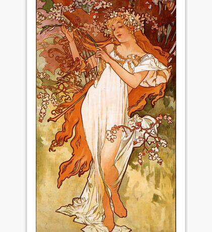 Alfons Mucha Art Nouveau Spring Painting Sticker