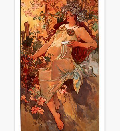 Alfons Mucha Art Nouveau Autumn Painting Sticker