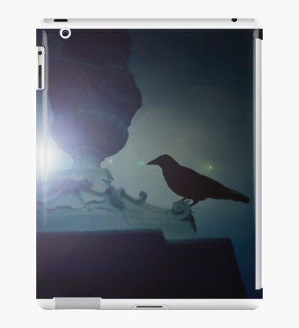 Black raven sitting on the ledge in the moonlight iPad Case/Skin