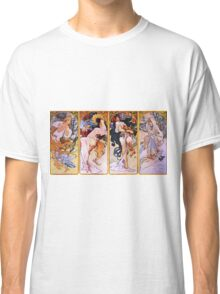 Alfons Mucha Art Nouveau Four Seasons Painting Classic T-Shirt