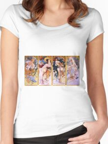 Alfons Mucha Art Nouveau Four Seasons Painting Women's Fitted Scoop T-Shirt