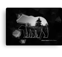 "Creative photo poster with double exposure with line icon of bear and text ""always respect Mother Nature"". Dark forest in the middle on the low poly black background. Canvas Print"