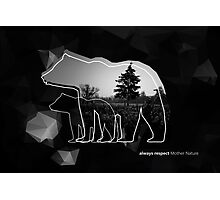 "Creative photo poster with double exposure with line icon of bear and text ""always respect Mother Nature"". Dark forest in the middle on the low poly black background. Photographic Print"