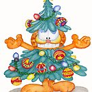 Garfield Christmas Watercolor Print and Cards by Lallinda