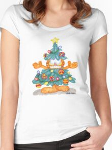 Garfield Christmas Watercolor Print and Cards Women's Fitted Scoop T-Shirt