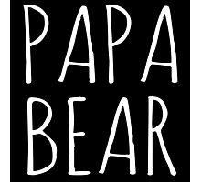 Papa Bear White Ink  Photographic Print