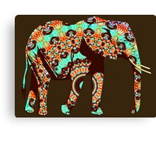 Cute Colorful Graphic Art Elephant Canvas Print