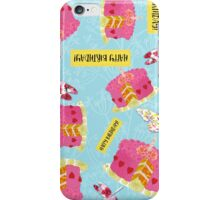 Happy Birthday Garden Party pattern, cake, butterfly, dragonfly iPhone Case/Skin
