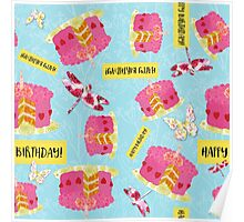 Happy Birthday Garden Party pattern, cake, butterfly, dragonfly Poster