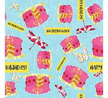 Happy Birthday Garden Party pattern, cake, butterfly, dragonfly Photographic Print