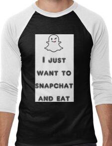 snapchat and eat Men's Baseball ¾ T-Shirt
