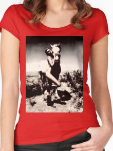 Woman and horse MixXart Women's Fitted Scoop T-Shirt