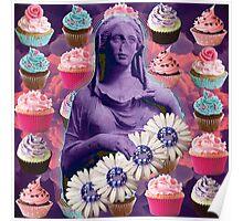 daisied flowern cupcake queen Poster