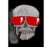 Cigar Smoking Skull w/ Red Sunglasses   Photographic Print