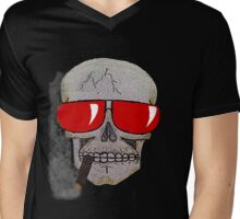 Cigar Smoking Skull w/ Red Sunglasses   Mens V-Neck T-Shirt