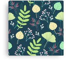 Spring-leaf-and-flower-seamless-pattern-vector Canvas Print