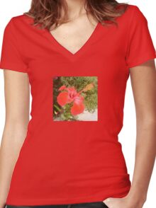 Beautiful Red Hibiscus Flower With Garden Background Women's Fitted V-Neck T-Shirt