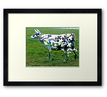 Jigsaw Puzzle Cow Framed Print
