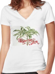 Spice Berry Coral Ardisia Evergreen Shrub Women's Fitted V-Neck T-Shirt