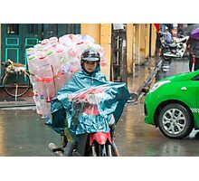 Scooter Lady with Plastic Vietnam Photographic Print