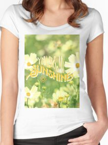 You Are My Sunshine Pretty Yellow Cosmos Flowers Women's Fitted Scoop T-Shirt