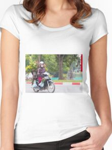 Scooter Lady Transports Flowers Hanoi Vietnam Women's Fitted Scoop T-Shirt