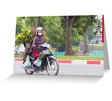 Scooter Lady Transports Flowers Hanoi Vietnam Greeting Card
