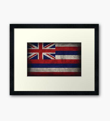 Hawaii State Flag - Aged (Horizontal) Framed Print