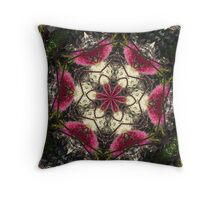 Bottle brush mandala Throw Pillow