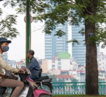 Scooter in Hanoi with long load Sticker