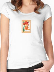 Birthday Wishes - Parrot Tulips Women's Fitted Scoop T-Shirt