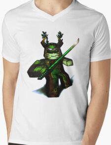 Green Samurai Blox Mens V-Neck T-Shirt
