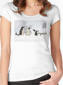 """Gentoo Penguins ~ """"Our World"""" Women's Fitted Scoop T-Shirt"""