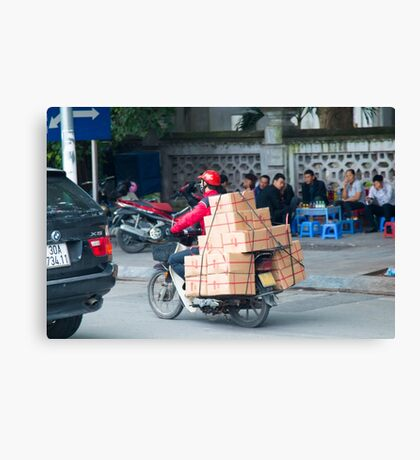 Scooter in Hanoi with Box Canvas Print