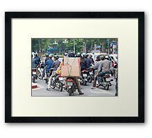 Scooter in Hanoi with Box Load Framed Print