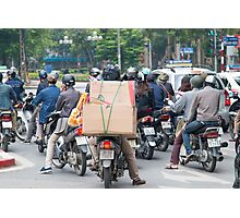 Scooter in Hanoi with Box Load Photographic Print