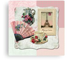 Vintage French Chocolate Victorian Eiffel Tower Lace Frame Canvas Print