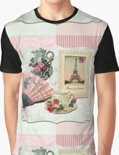 Vintage French Chocolate Victorian Eiffel Tower Lace Frame Graphic T-Shirt
