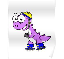 Illustration of a skating Tyrannosaurus Rex. Poster